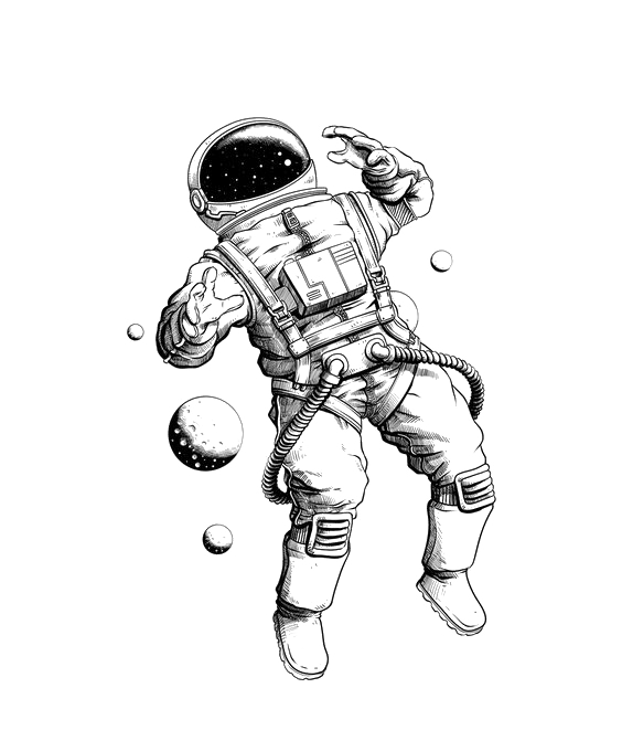 Tattoo Pencil Illustration Astronaut Drawing Hand-Painted PNG Image