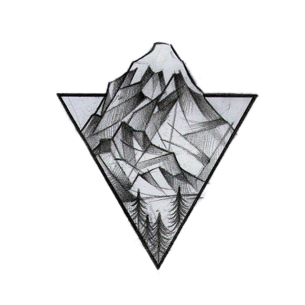 Tattoo Triangle Mountain Geometry Idea Logo Drawing PNG Image