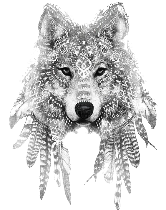 Gray Sleeve Tattoo Wolf Ink Drawing PNG Image