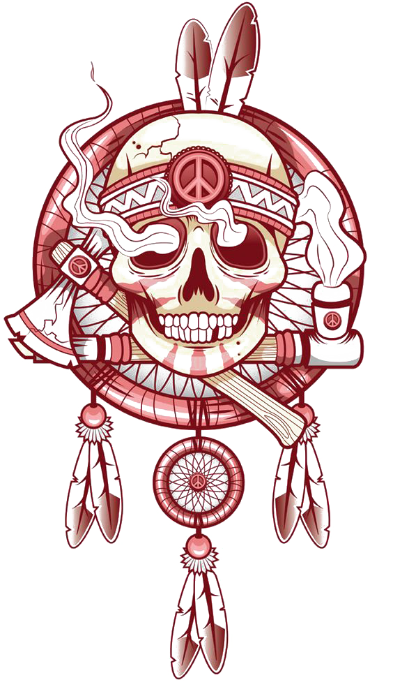 Tattoo Art Skull T-Shirt Indian Drawing PNG Image