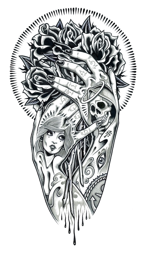 Tattoo Art Illustration Hand Renderings Drawing PNG Image
