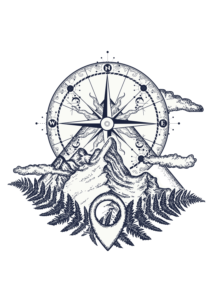 Tattoo Mountain Compass Sketch Artist PNG File HD PNG Image