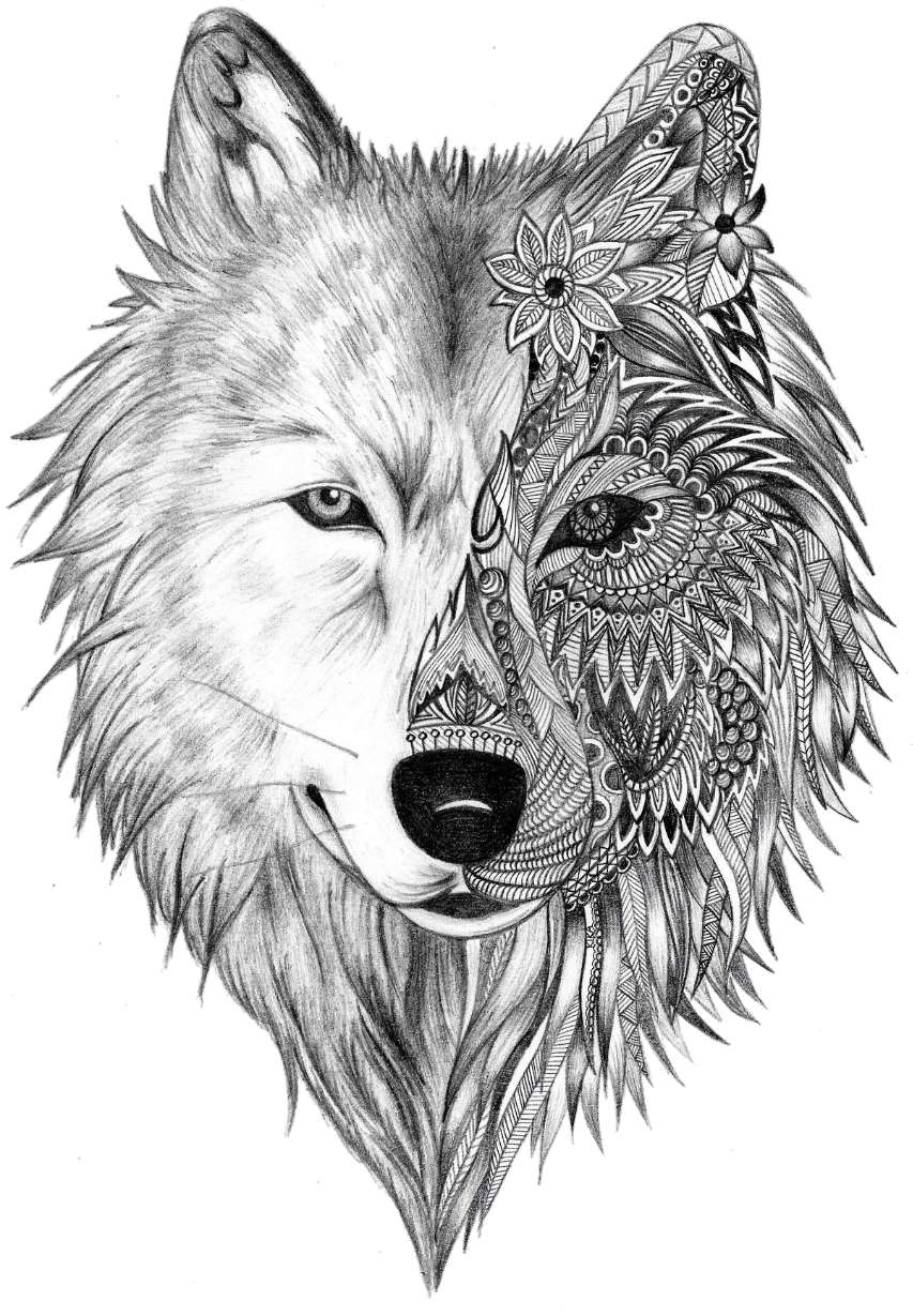 Tattoo Sleeve Gray Artist Heart Wolf Ink PNG Image