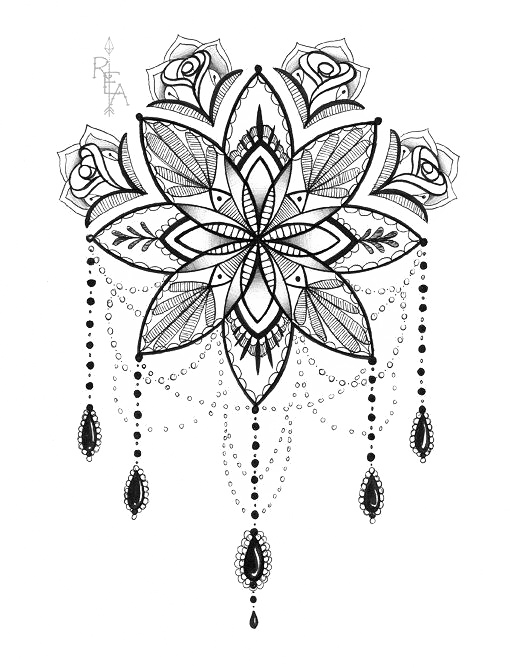 Tattoo Artist Lotus Print Mandala Drawing PNG Image