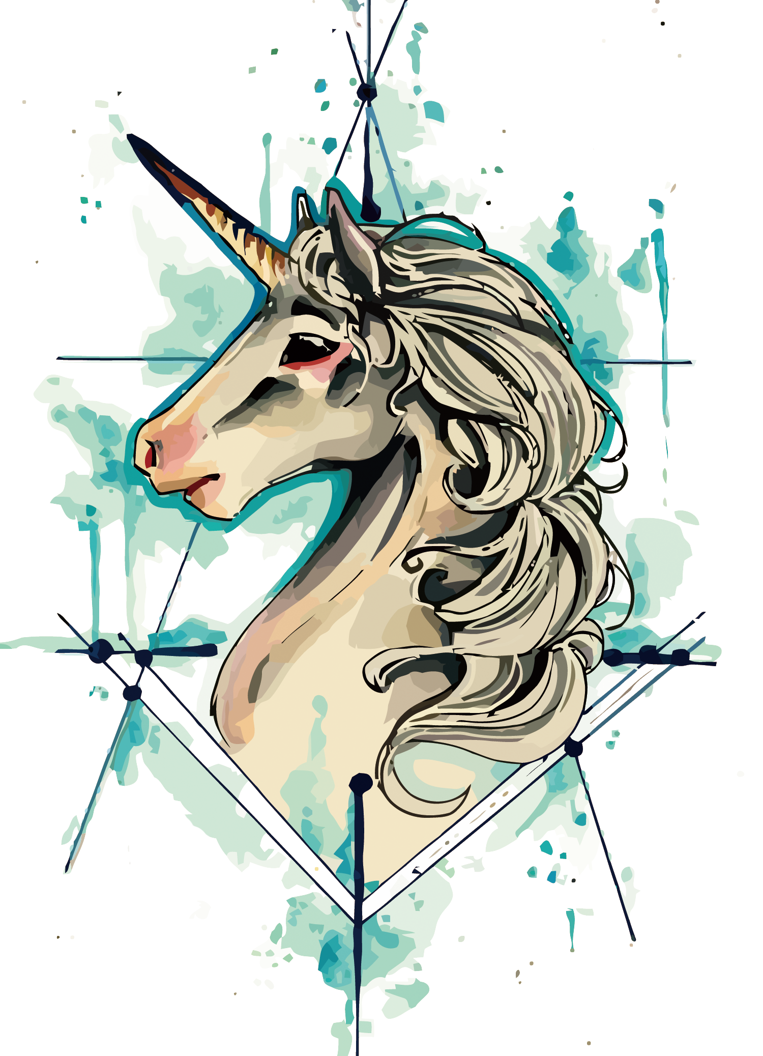 Tattoo Flash Vector Iphone Unicorn Drawing PNG Image
