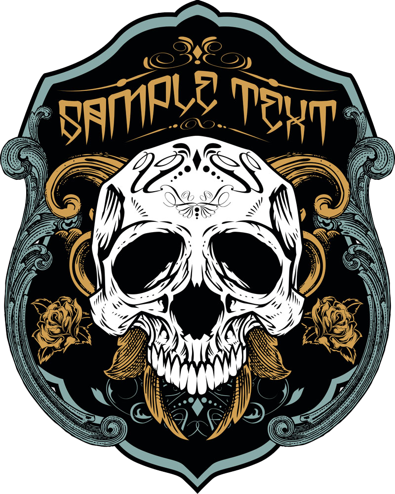Shield Skull T-Shirt Vector Printed Necklace PNG Image
