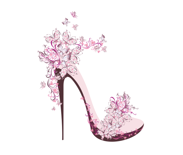Flower Creative T-Shirt Paper Shoe Female Heels PNG Image