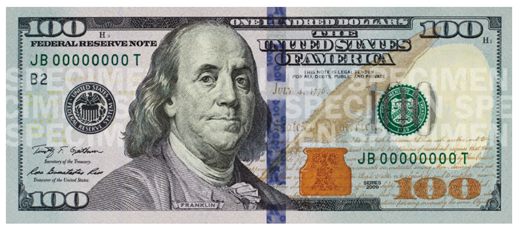Benjamin United Banknote Bill Dollar One States PNG Image