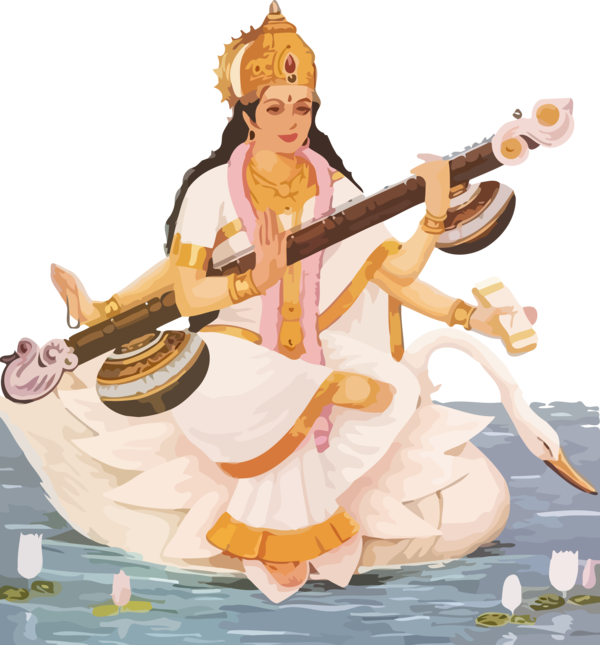Vasant Panchami String Instrument Musical Veena For Happy Quote PNG Image