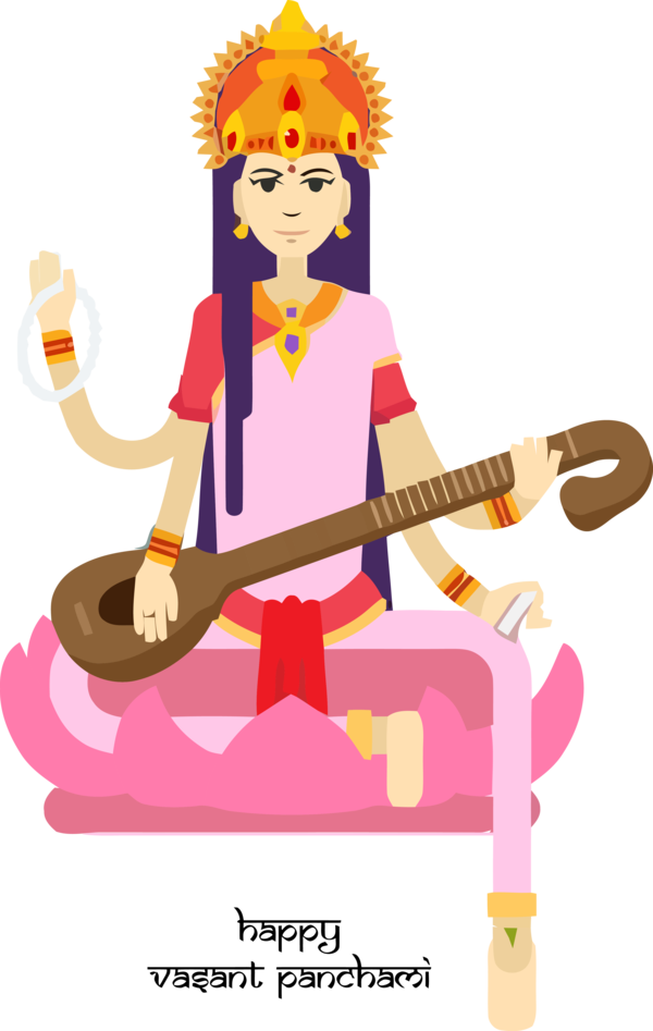 Vasant Panchami Cartoon Musical Instrument Indian Instruments For Happy Carol PNG Image