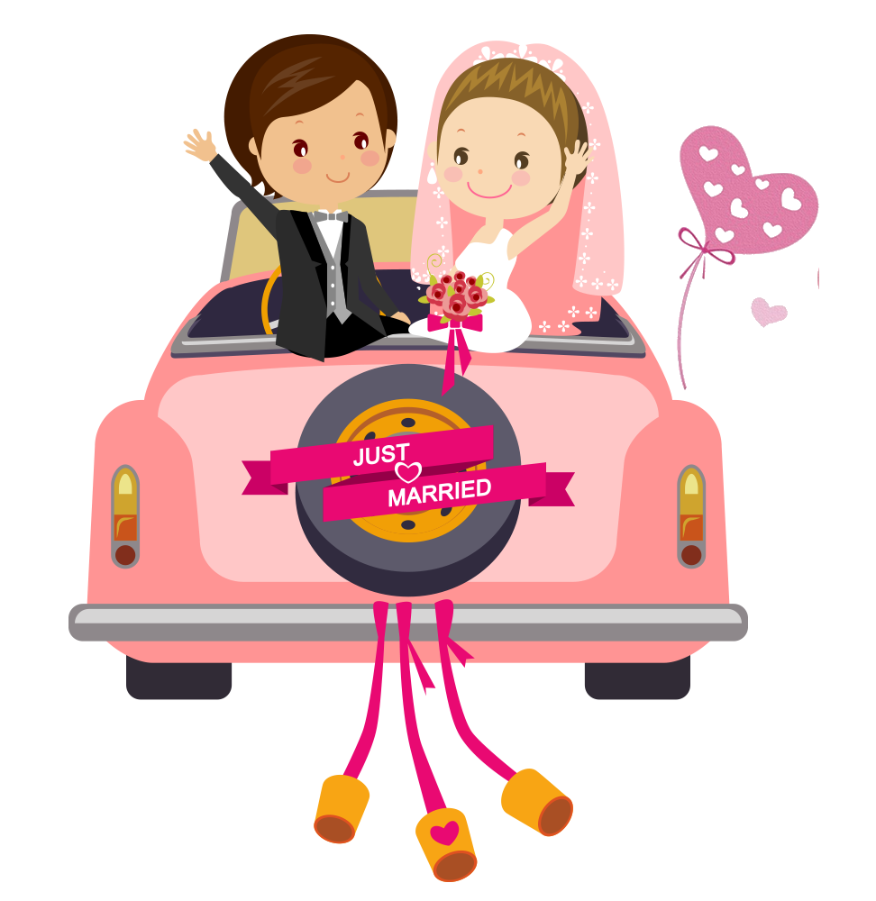 Car Wedding Illustration Invitation The Cartoon PNG Image