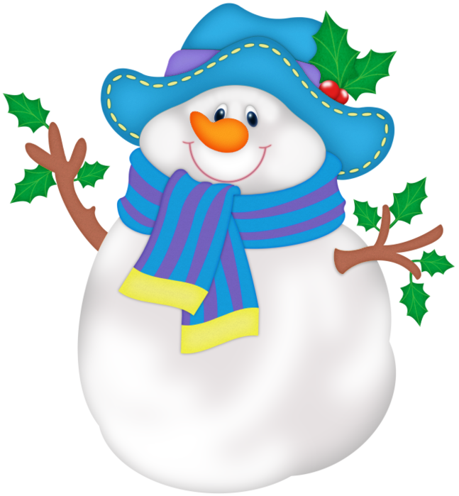 Snowman Blue With Hat Free Frame PNG Image